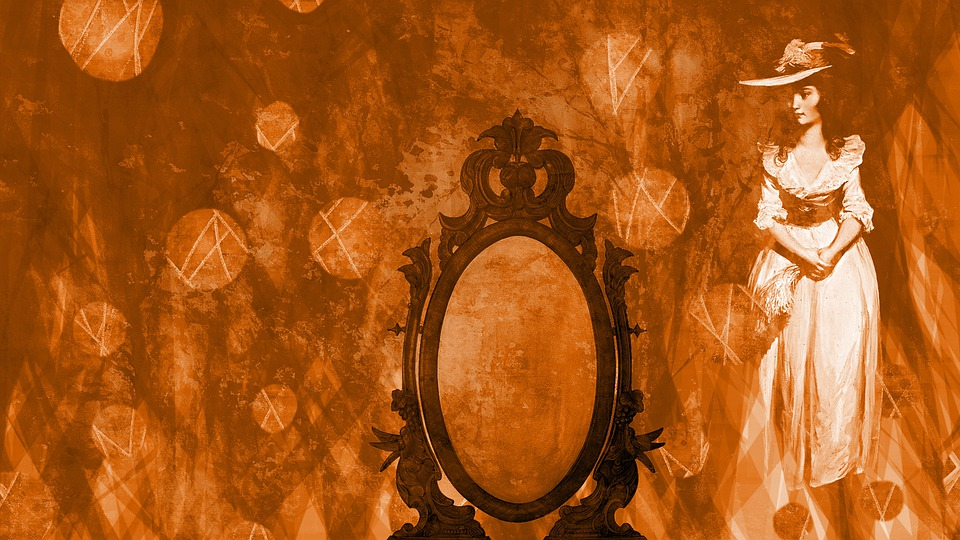 Lady, Ghost, Mirror, Women, Frame, Copy Space