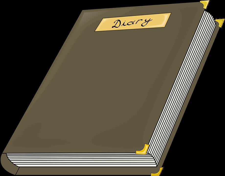 Diary, Hardbound, Hard Cover, Corner Clips, Brown
