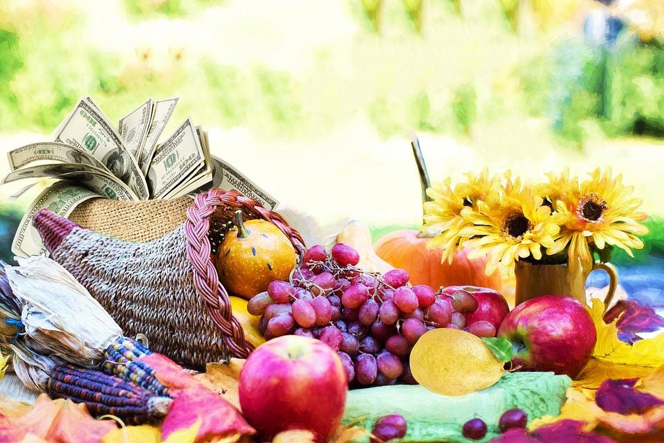Fruits, Cornucopia, Basket, Food, Apple, Abundance