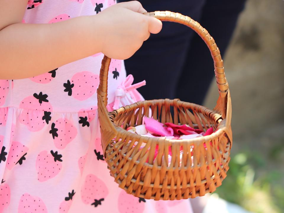 Corpus Christi Feast, Girl Throwing Rose Petals