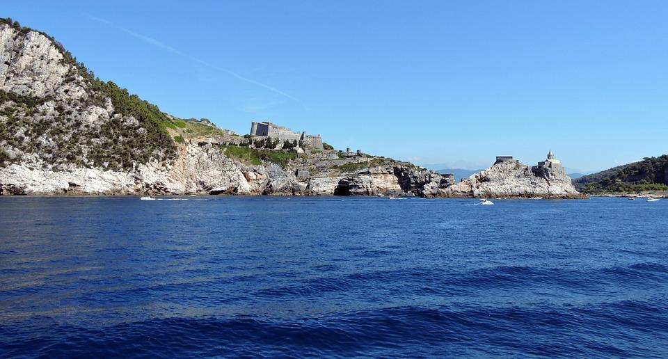 Castle, Cliff, Sea, Church, Costa, Rock, Porto Venere