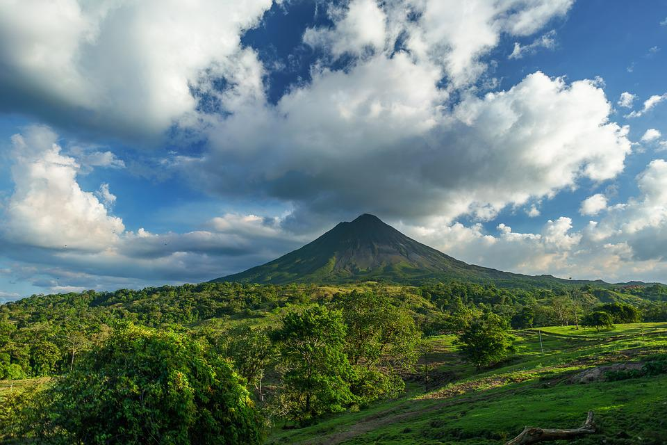 Volcano, Costa Rica, Clouds, Blue Sky, Mountain