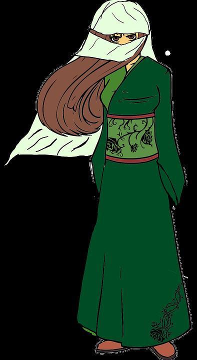 Girl, Costume, Drawing, Veiled, Veil, Red Hair