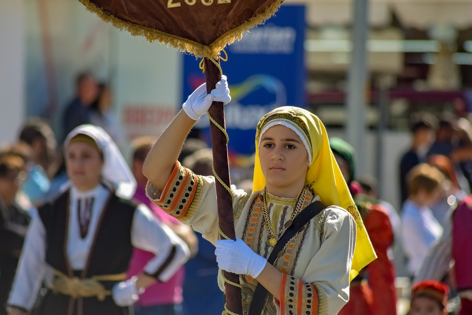 Girl, Costume, Traditional, Parade, Young, Cyprus