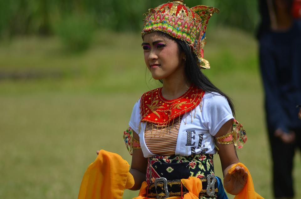 Girl, Costumes, Dancers, Culture, Java, Indonesia