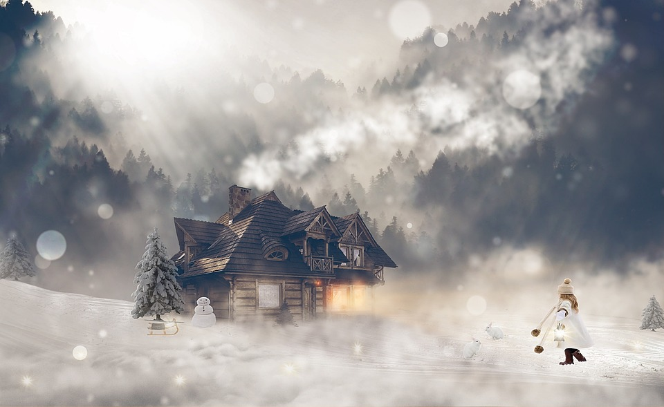Snow, Cottage, Winter, Girl, Winter Clothes