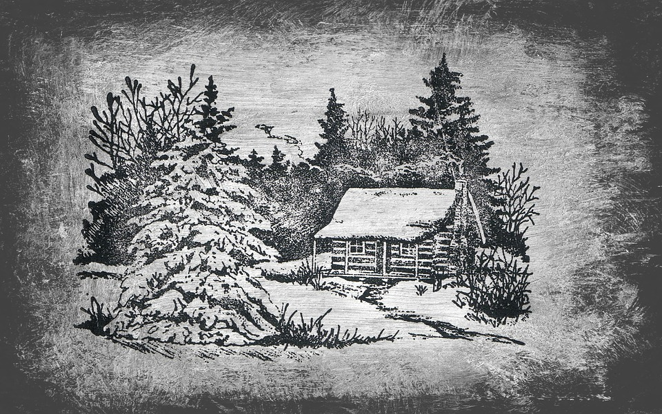 Drawing, Winter, Wintry, Cottage, Forest, Snow