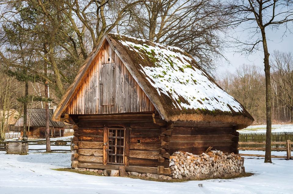 Cottage, Winter, Old Cottage, Wooden Cottage
