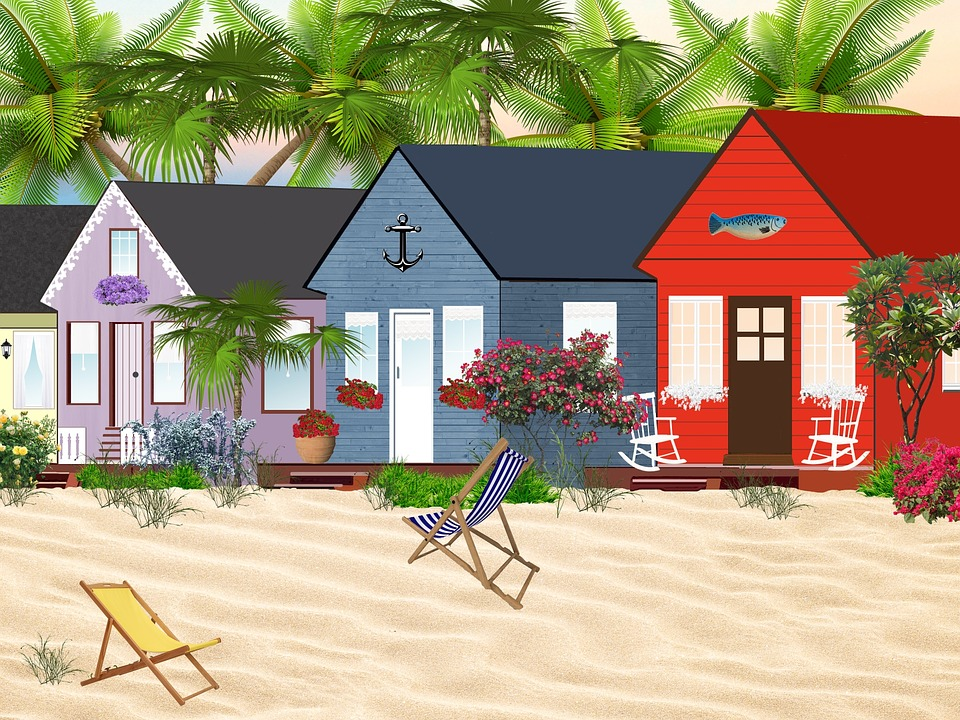 Houses, Cottages, Beach, Window, Flowers, Sandy Beach