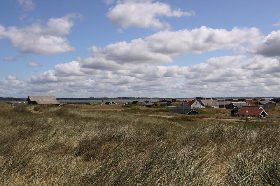 Sums, Huts, Cottages, Grass, Windy, Cloudscape, Agger