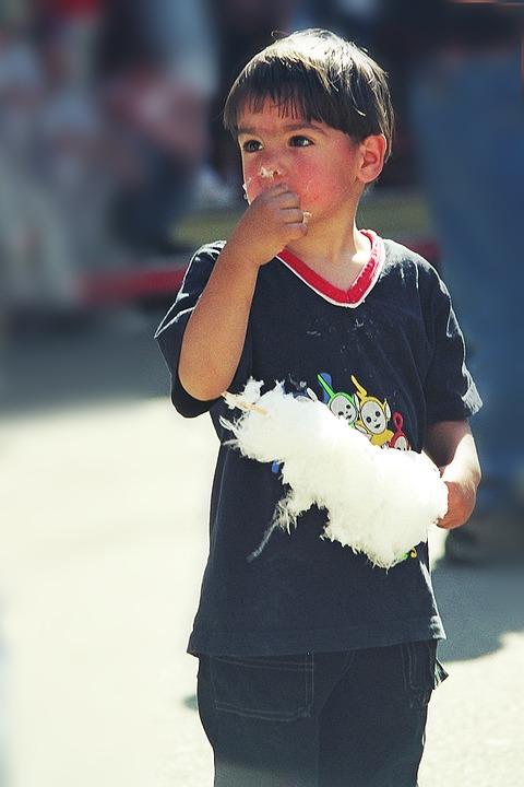 Cotton Candy, Boy, Sweetness, Nibble, Enjoy