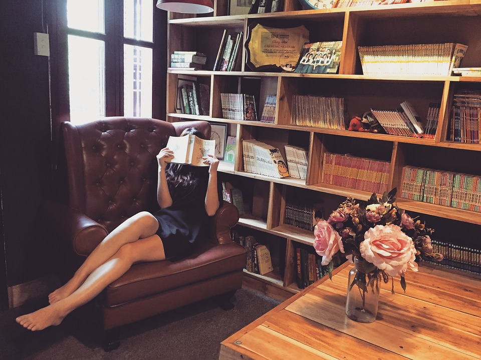 Woman, Reading, Couch, Books, Girl, Library, Shelves