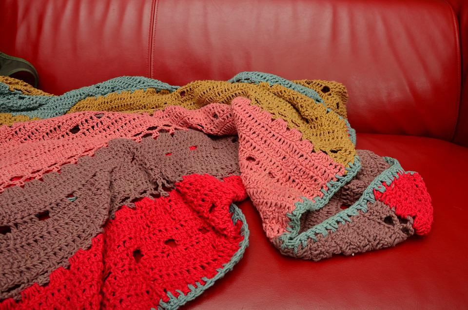 Crochet Blanket, Sofa, Couch, Blanket, Hand Labor, Sit