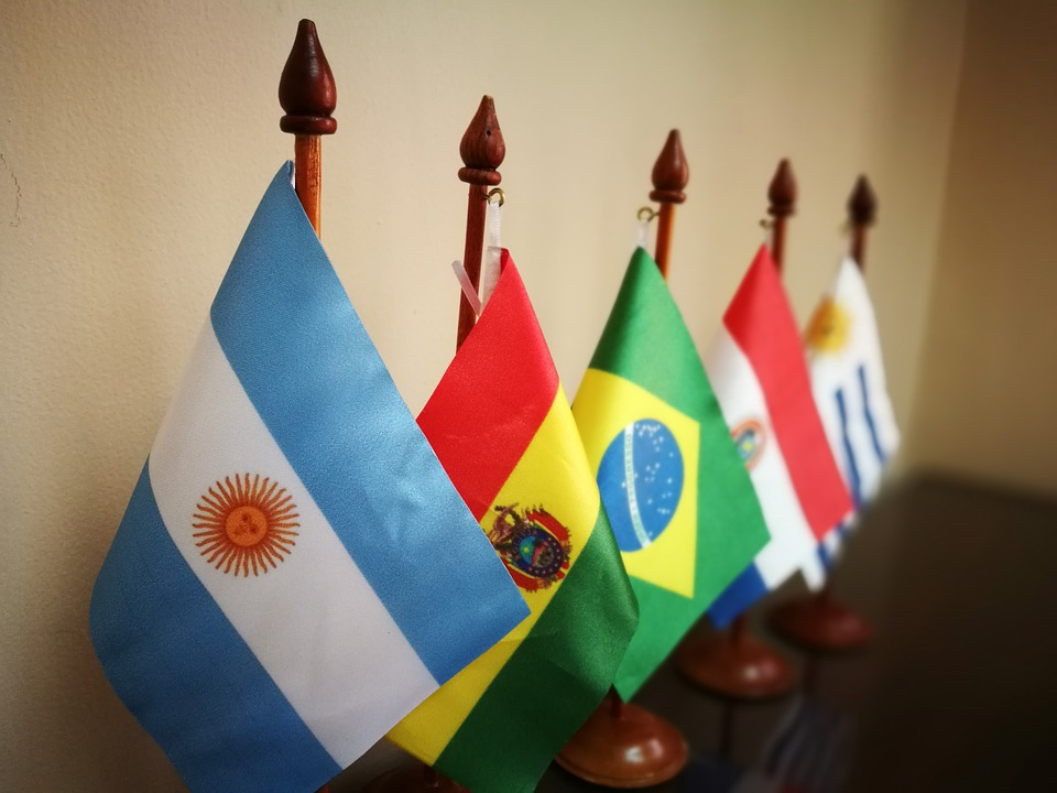 Countries, Flags, Argentina, Bolivia, Brazil, Paraguay
