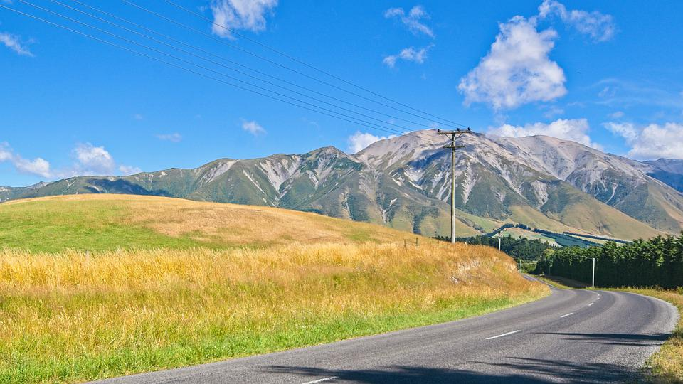 Nz, New Zealand, South Island, Asphalt, Bend, Country