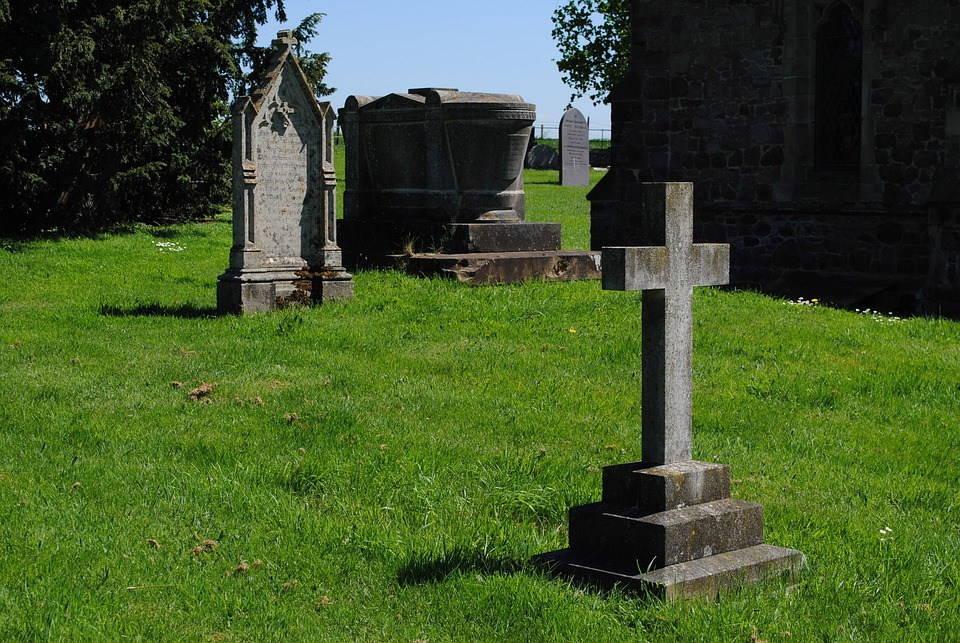 Gravestones, Church, Country, Cemetery, Religion