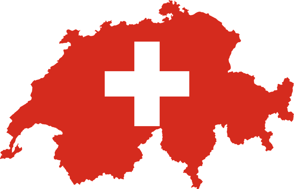 Switzerland, Country, Europe, Flag, Borders, Map