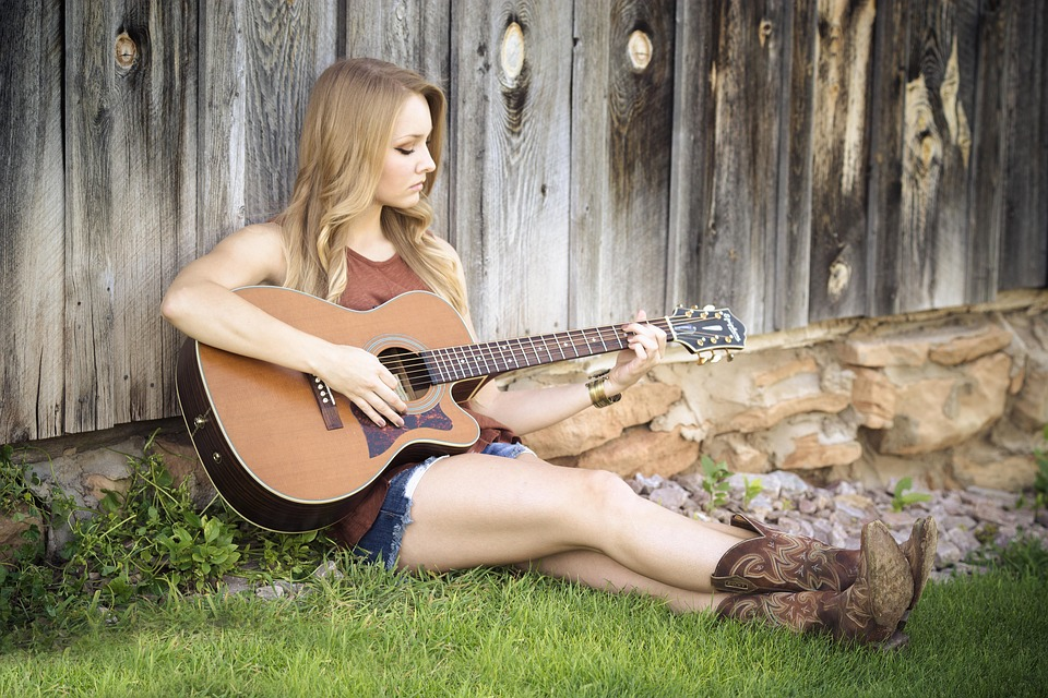 Guitar, Country, Girl, Music, Guitarist, Countryside