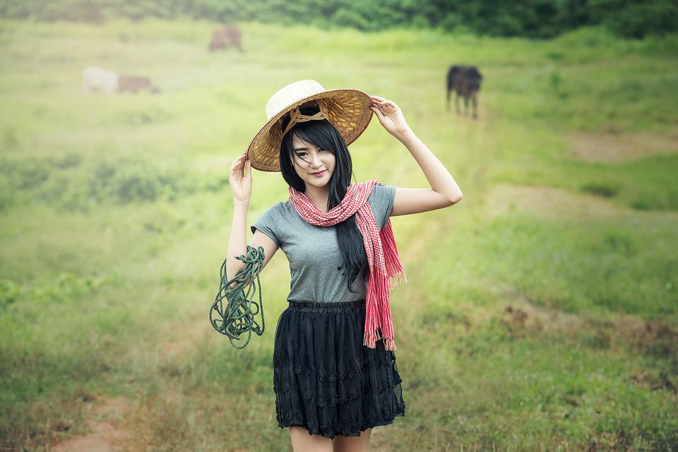 Woman, Green, Hats, Countryside, Ancient, Asia, Culture