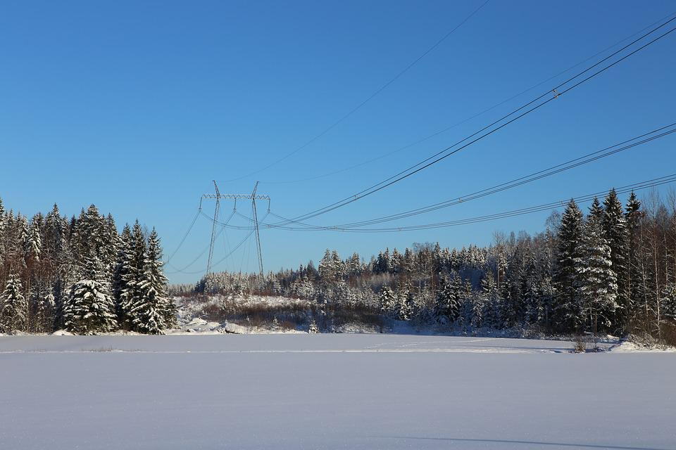 Winter, Snow, Frost, Countryside, The Power Line