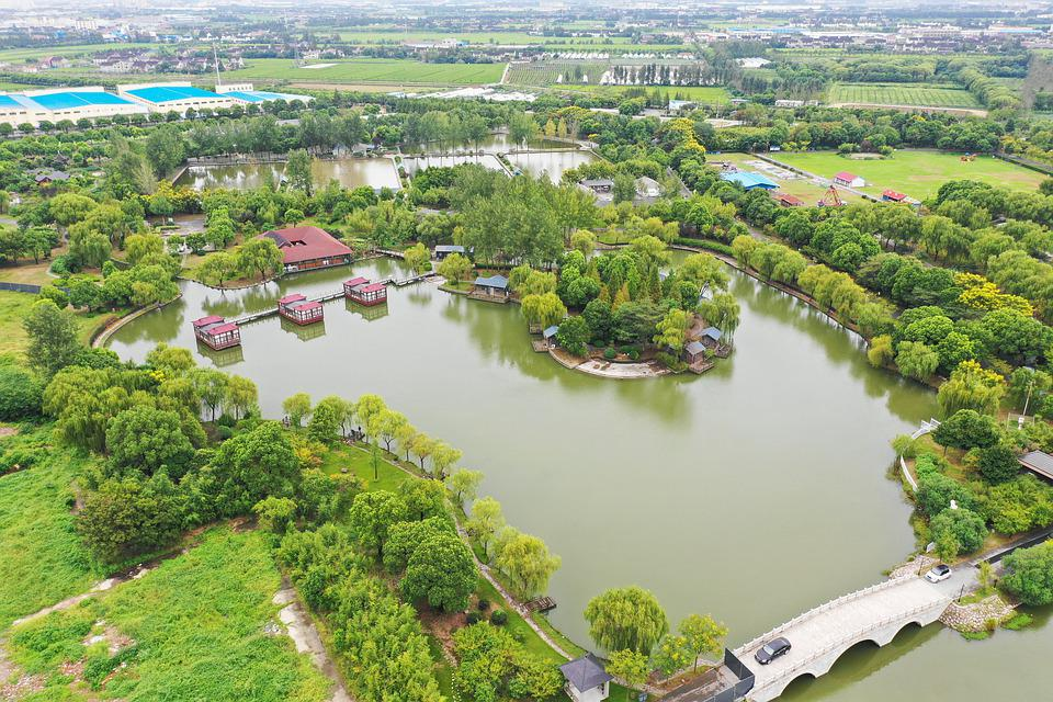 Shanghai, Jiading, Huating, Waterfront, Countryside