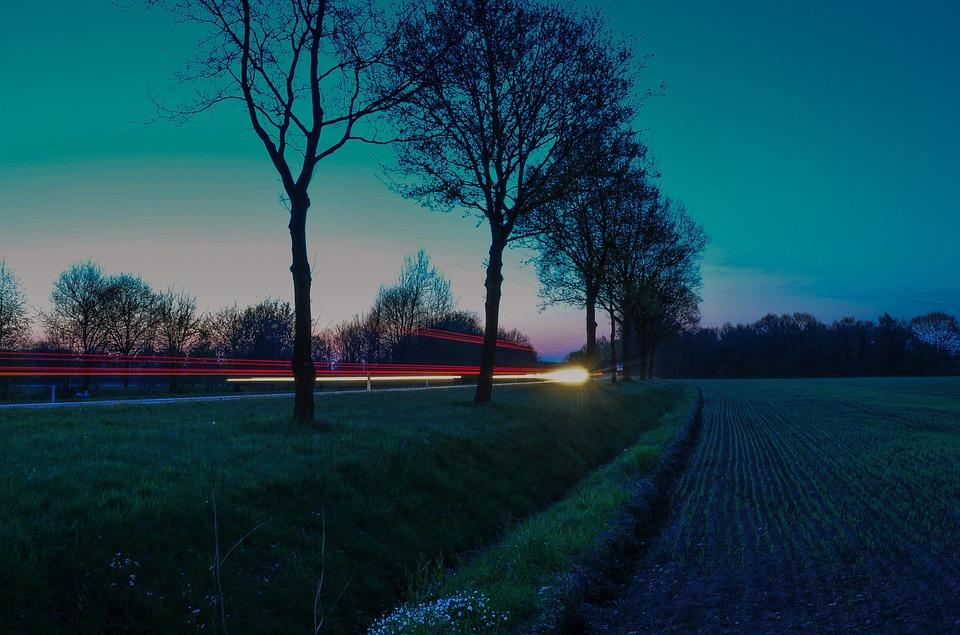 Rural, Countryside, Night, Nightfall, Evening, Trees