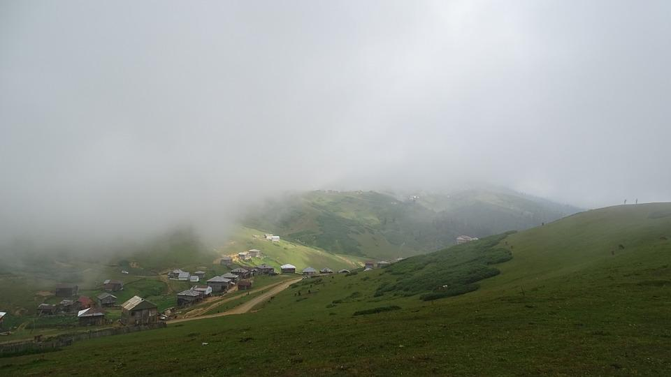 Mountains, Fog, Cottage, Village, Countryside, Green