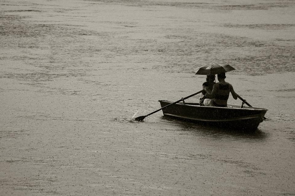 Couple, Umbrella, Boat, Woman, Man, Rain, Love