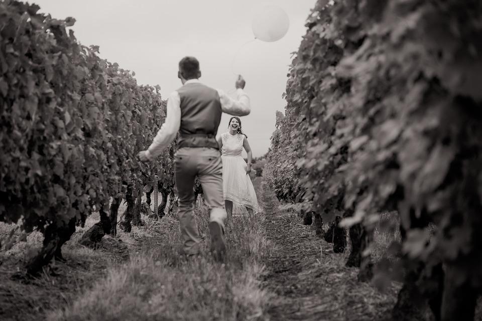 Couple, Smile, Ball, Black And White, Run, Field, Vines
