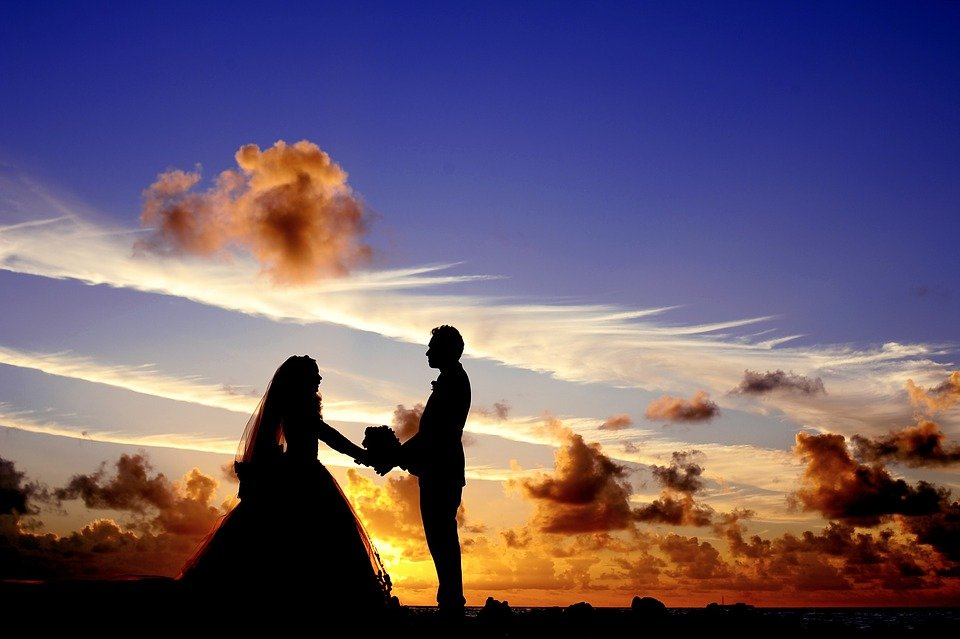 Sunset, Wedding, Bride, Groom, Couple, Bridal