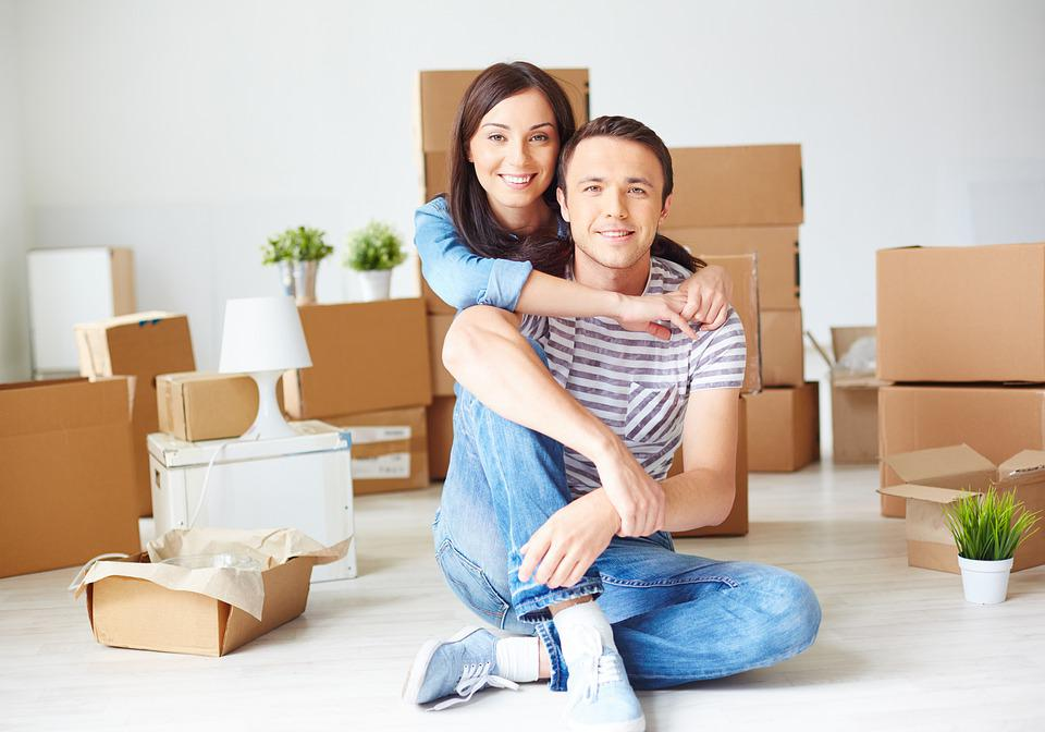 Home, House, Family, Husband And Wife, Couple, Boxes
