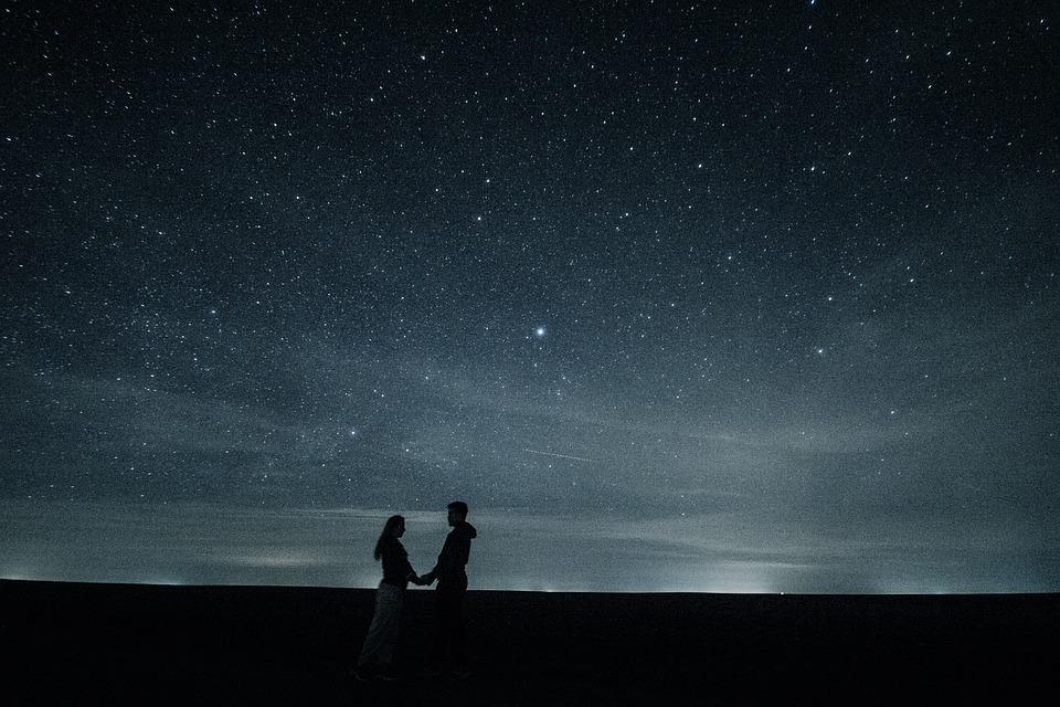 Couple, Love, Stars, Long Exposure, Hug, Artistic, Pair
