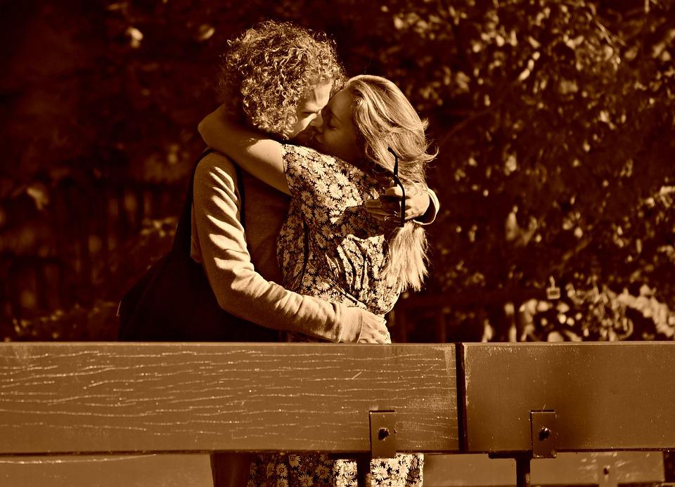 Man, Woman, Couple, Kiss, Love, Embrace, Romance, Happy