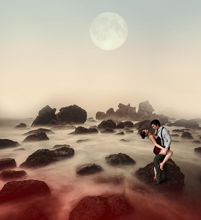 Couple, Rocks, Fantasy, Moon, Moonlight, Fog, Foggy