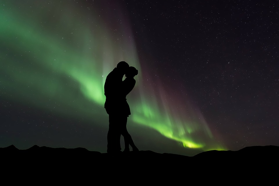 Silhouette, Couple, Couple Silhouette, Northern Lights