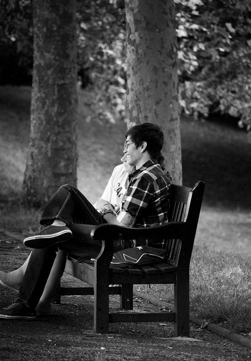 Bench, Couple, Love, Man, Outdoors, People, Adult