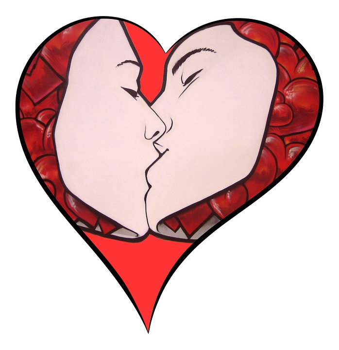 Heart, Love, Kiss, Valentine, Couple, Together, Passion