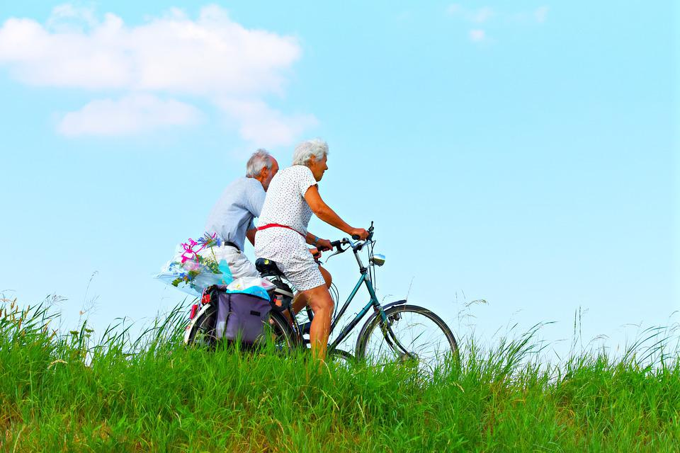 Person, Man, Woman, People, Couple, Elderly, Cycling