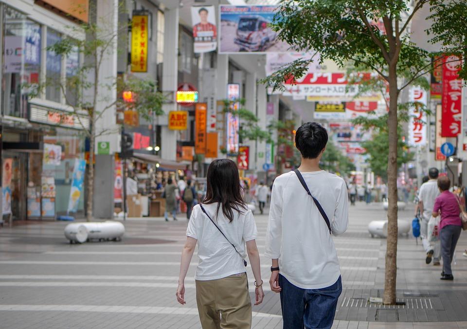 Couple, Street, City, Man, Woman, Walking, Urban, Town