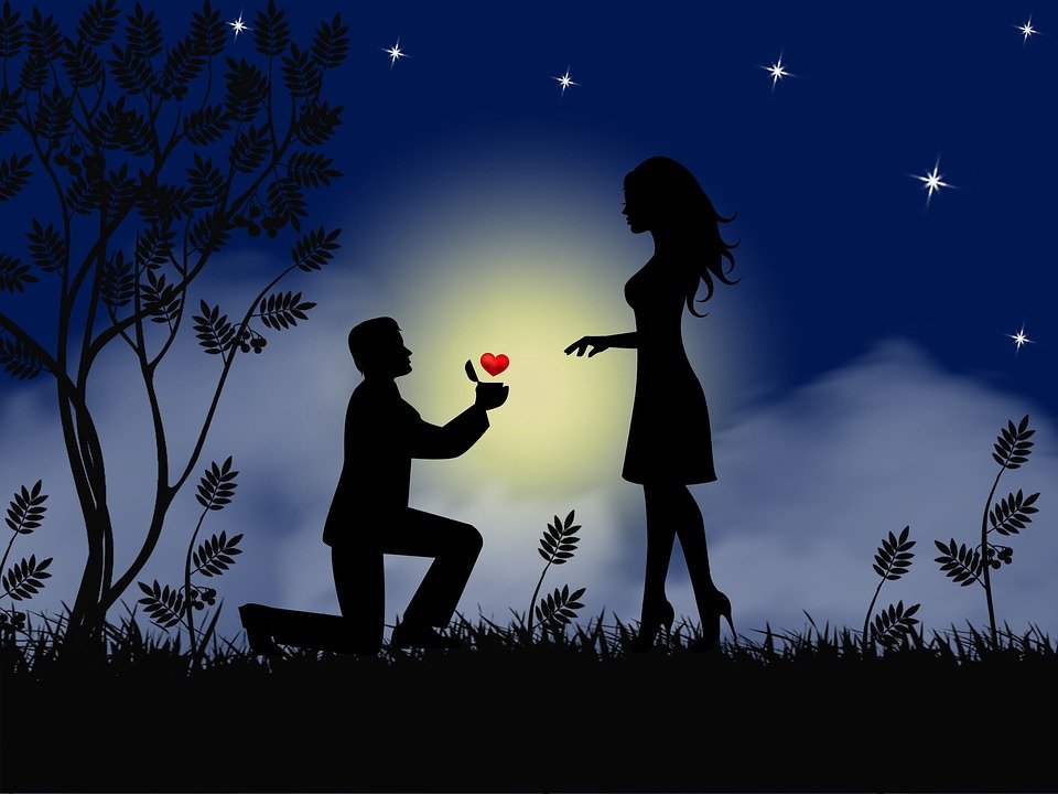 Couple, Love, Proposal, Silhouette, Engaged, Wedding