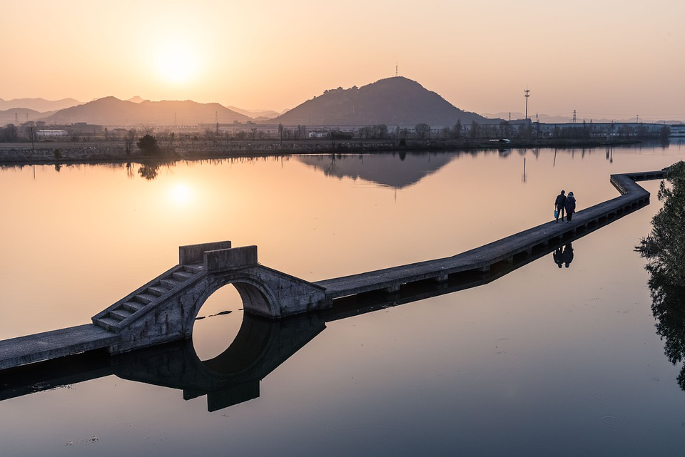 Sunset, Gold, Scenery, Shaoxing, Couples