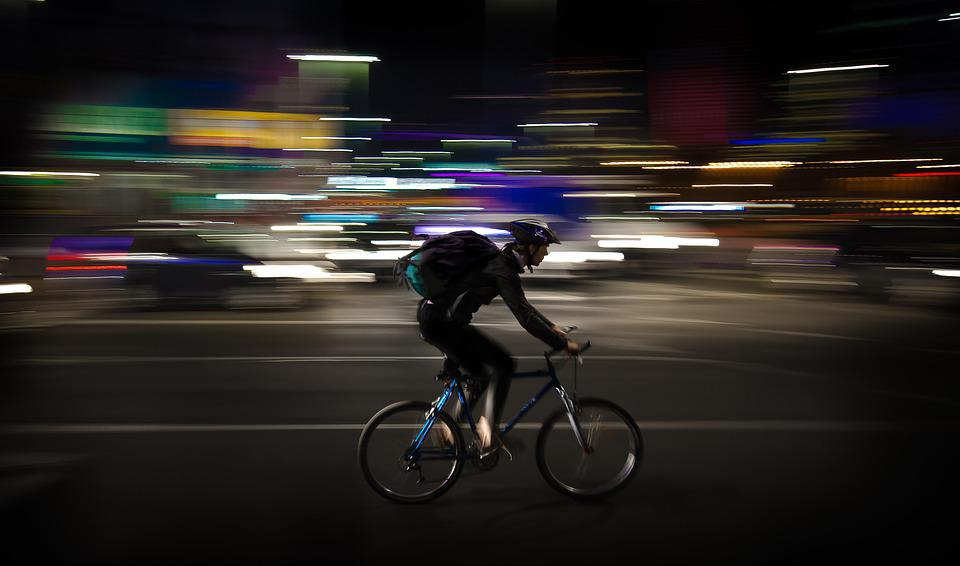 Courier, Night, Panning, Warsaw, Poland, Colorful