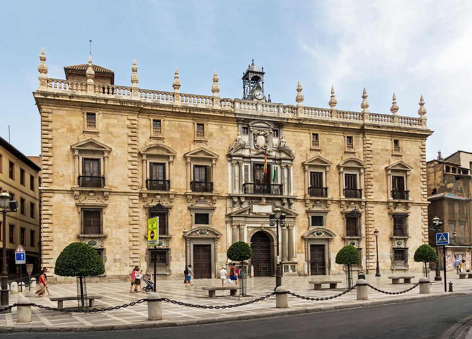Granada, Spain, Courthouse, Government, Sky, Clouds