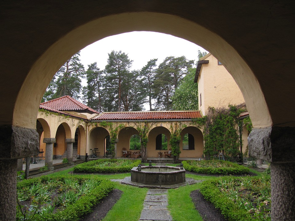 Sweden, Arch, Arched, Courtyard, Grass, Plants