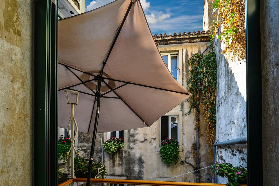 Balcony, Scenic, Peaceful, Umbrella, Courtyard, Europe