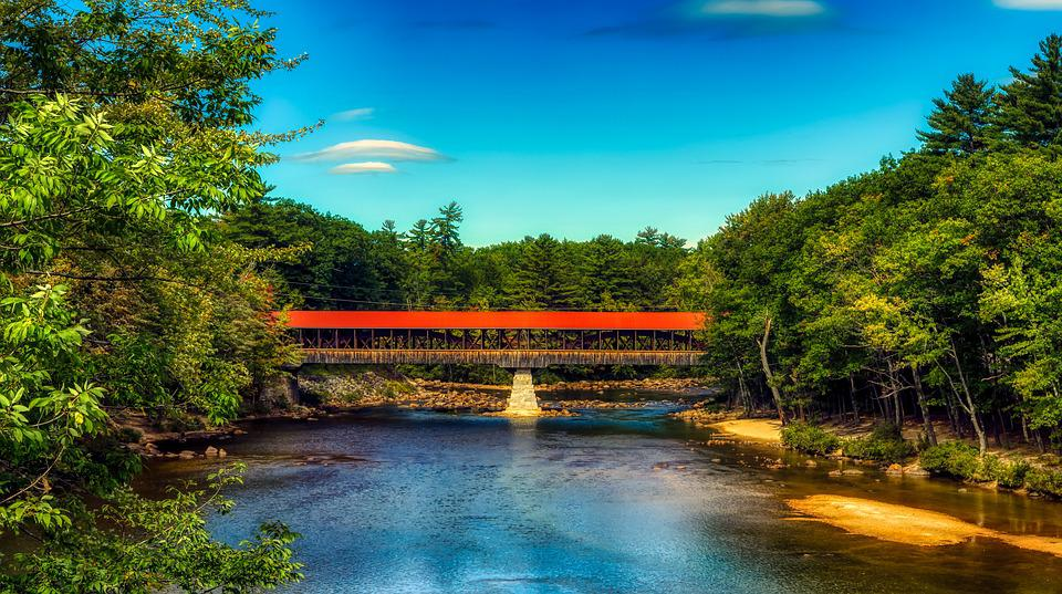 Saco River, Covered Bridge, New Hampshire, America