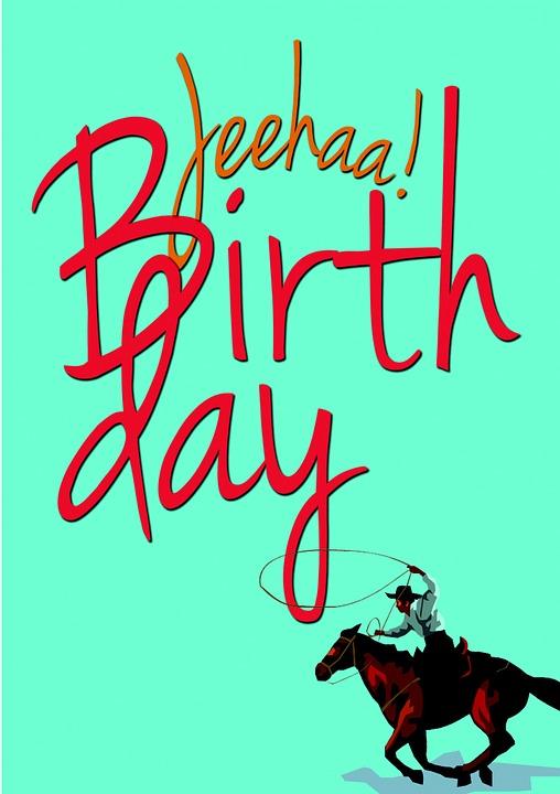Birthday, Horse, Cowboy, Greeting Card