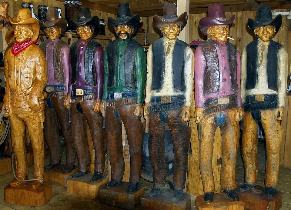 Cowboys, Wood Carving, Artwork, Retro, Wooden, Vintage