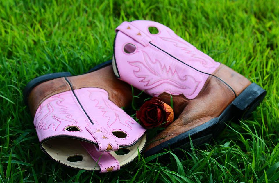 Boots, Leather, Grass, Green, Red, Country, Cowgirl