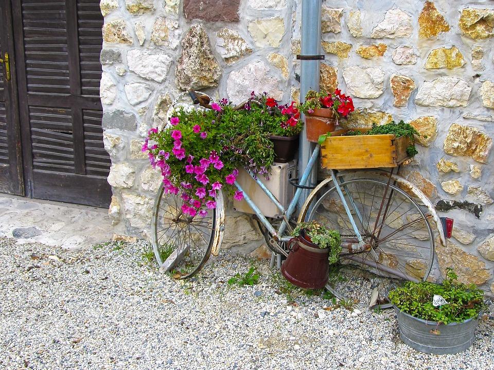 Old Bike, Flower Stand, Cozy, Creative Decor